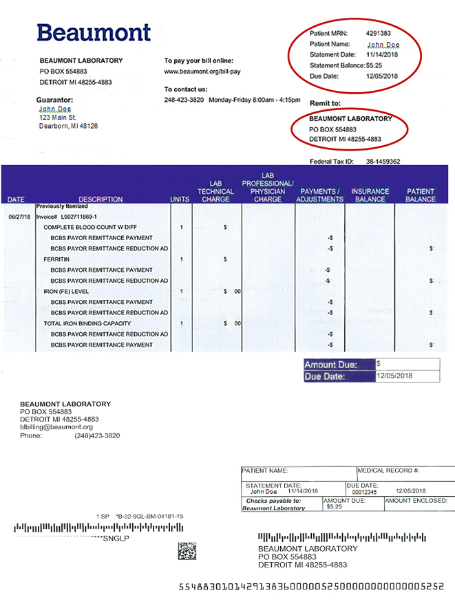 Beaumont Laboratory Bill Payment Example