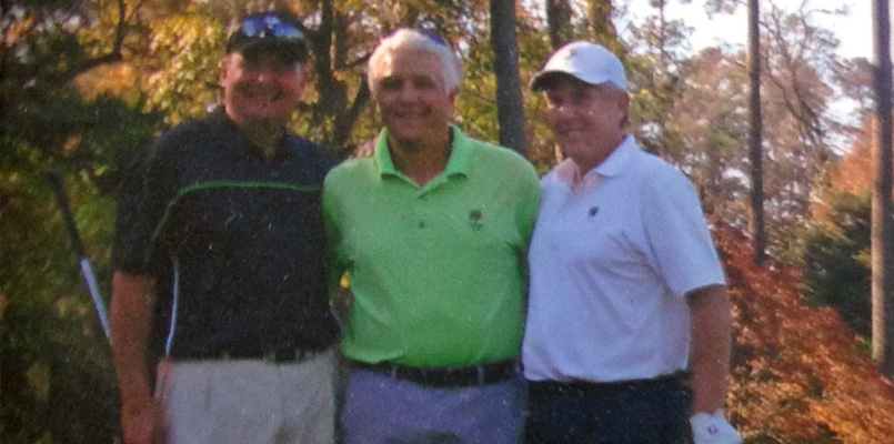Dave Wujczyk, right, enjoying a round of golf in 2015 at Augusta National Golf Course with friends Rick Plawecki, left, and Joe Wisne, center