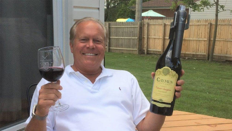 Gary Corbin enjoying a glass of Cabernet Sauvignon