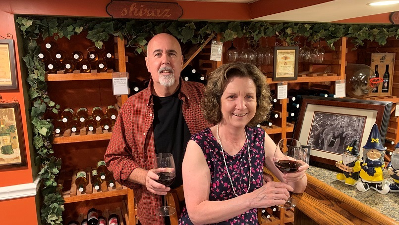 Larry and Diane Lees make their own wine at home