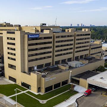 Aerial photo of Beaumont Hospital located in Royal Oak, Michigan