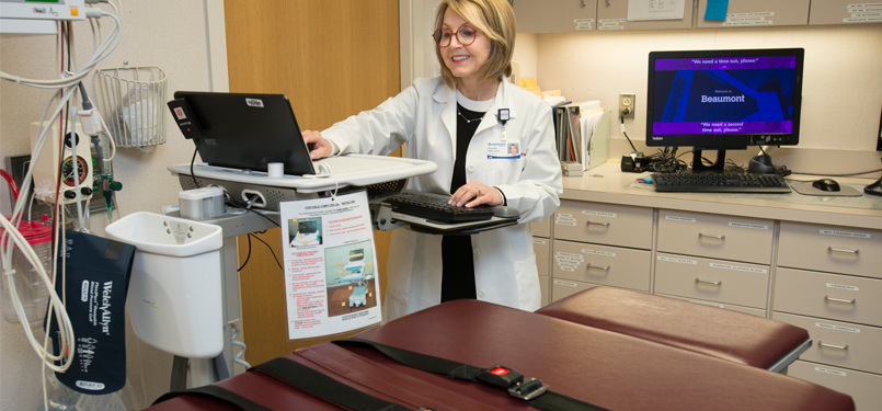 Dr. Marcovitz and a tilt table at Beaumont Hospital, Royal Oak